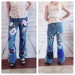 OOAK Bell Bottoms Upcycled Boho Gypsy Jeans